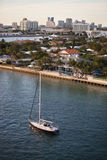Fort Lauderdale Homes and Skyline with Sailboat Stock Image