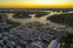 Fort Lauderdale International Boat Show at dusk. Aerial image of the Fort Lauderdale International Boat Show shot with a drone Stock Image