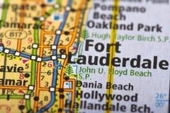 Fort Lauderdale, la Florida en mapa fotos de archivo libres de regalías