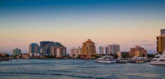 Fort Lauderdale na zonsondergang Stock Afbeelding