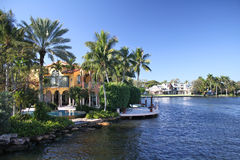 Fort Lauderdale New river cruise. Canals and waterfront houses along New River in Fort Lauderdale. Las Olas Isles neighborhood Stock Photos