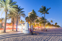 Fort Lauderdale at night. Amazing lights of Beach Boulevard Stock Image