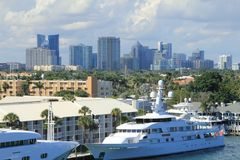 Fort Lauderdale Skyline. Ft. Lauderdale, Florida skyline with the intercoastal in foreground Stock Photography