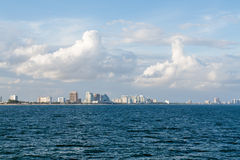 Fort Lauderdale Skyline from the Sea. Under nice sky Royalty Free Stock Image