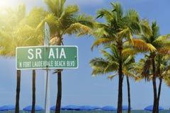 Fort Lauderdale-Strand-Straßenschild Stockfotografie