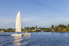 FORT LAUDERDALE, USA - AUG 20, 2014: sailing boat in the canal i Royalty Free Stock Photo