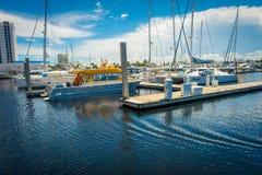 FORT LAUDERDALE USA - JULI 11, 2017: En linje av fartyg visade till salu på Fort Lauderdale Royaltyfri Bild