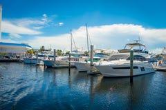 FORT LAUDERDALE USA - JULI 11, 2017: En linje av fartyg visade till salu på Fort LauderdaleInternationalbåtmässan Arkivbild