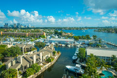 FORT LAUDERDALE, USA - JULY 11, 2017: Aerial view of new river with riverwalk promenade highrise condominium buildings Royalty Free Stock Photo