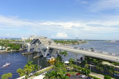 FORT LAUDERDALE, USA - JULY 11, 2017: Aerial view of an opened bridge raised to let ship pass through at harbor in Fort Stock Photography