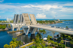 FORT LAUDERDALE, USA - JULY 11, 2017: Aerial view of an opened draw bridge raised to let ship pass through at harbor in. Fort Lauderdale, Florida Stock Photos