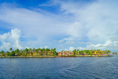 FORT LAUDERDALE, USA - JULY 11, 2017: Beautiful housed in the horizont with a riverwalk promenade, highrise condominium Stock Images