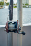 FORT LAUDERDALE, USA - JULY 11, 2017: Close up of a fishing rod in a big boat in the water at Fort Lauderdale, Florida Royalty Free Stock Image