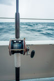 FORT LAUDERDALE, USA - JULY 11, 2017: Close up of a fishing rod in a big boat in the water at Fort Lauderdale, Florida Stock Photography