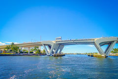 FORT LAUDERDALE, USA - JULY 11, 2017: Nice view of an opened draw bridge raised to let ship pass through at harbor in. Fort Lauderdale, Florida Stock Photos