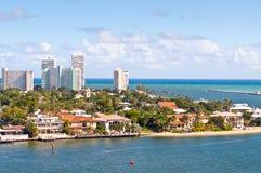 Fort Lauderdale. View of Atlantic intracoastal waterway and ocean at beach Florida, Fort Lauderdale Stock Photos