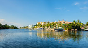 Fort Lauderdale Waterway. Scenic view of the Fort Lauderdale Intracoastal Waterway along Las Olas Boulevard royalty free stock photo
