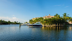 Fort Lauderdale Waterway. Scenic view of the Fort Lauderdale Intracoastal Waterway along Las Olas Boulevard Royalty Free Stock Photos