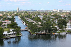 Fort Lauderdale waterways and skylines Stock Photography