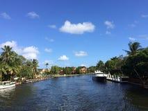 Fort Lauderdalekanal Arkivbild
