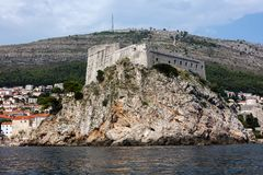Fort Lawrence in Dubrovnik, Croatia. Medieval fortress of Lovrijenac a.k.a Fort Lawrence in Dubrovnik, Croatia, rebuilt after the 1667 earthquake. The fort is royalty free stock images