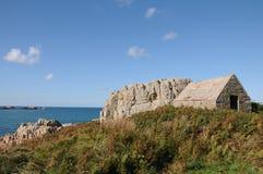 Fort le Marchant boven LâAncresse Baai, Guernsey Stock Foto's