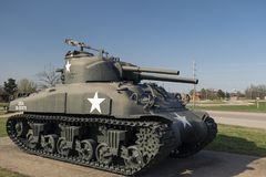 FORT LEONARD WOOD, MO-APRIL 29, 2018: General Sherman Medium Tank M4A3E8. General Sherman Medium Tank M4A3E8. An outdoor military vehicle complex featuring Stock Photos