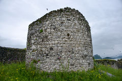Fort Lesendro, Montenegro. The round tower in the Lesendro fort on the Skadar Lake, Montenegro Royalty Free Stock Image