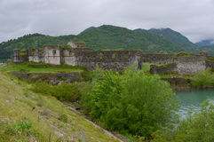 Fort Lesendro, Montenegro. Ruins of the walls of the medieval fort Lesendro on the Skadar Lake, Montenegro Stock Photography
