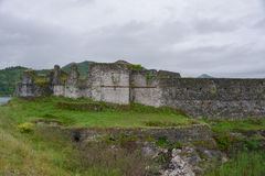 Fort Lesendro, Montenegro. Ruins of the walls of the medieval fort Lesendro on the Skadar Lake, Montenegro Royalty Free Stock Photo