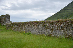 Fort Lesendro, Montenegro. The wall with loopholes of the medieval Fort Lesendro on the Skadar Lake, Montenegro Stock Photography
