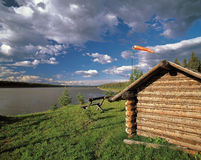 Fort Liard at Liard River, NWT. Liard River at Northwest Territories, Canada Stock Photo