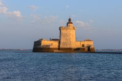 Fort Louvois at low tide, France stock photos