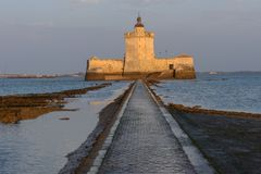 Fort Louvois at low tide, France. Fort Louvois at low tide, Charente-Maritime, France royalty free stock photos
