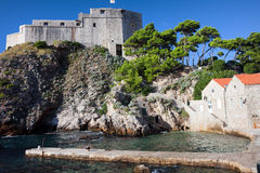 Fort Lovrijenac. On top of the steep cliff in Dubrovnik, Croatia Royalty Free Stock Images