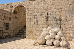 Fort Lovrijenac. Cannon balls. Dubrovnik. Croatia Stock Photography