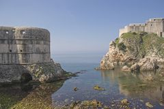 Fort Lovrijenac and city wall in Dubrovnik. Former Republic of Ragusa, a city in southern Croatia on the Adriatic Stock Photo