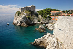 Fort Lovrijenac, Dubrovnik. Lovrijenac Fort, seen from Bokar Fort and Adriatic Sea, Dubrovnik Royalty Free Stock Image