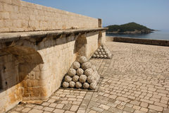 Fort Lovrijenac. Dubrovnik. Croatia. Fort Lovrijenac. cannon balls. Dubrovnik. Croatia Royalty Free Stock Photo