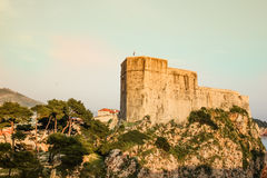 Fort Lovrijenac. Dubrovnik. Croatia. The massive Fort Lovrijenac at sunset. Dubrovnik. Croatia Stock Photos