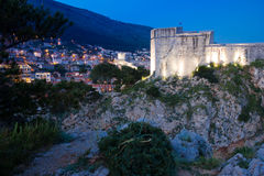 Fort Lovrijenac at night. Dubrovnik. Croatia Stock Image