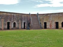 Fort Macon. Is a restored Civil War-era fort surrounded by water at the eastern tip of the Bogue Banks in Atlantic Beach, NC Stock Photography