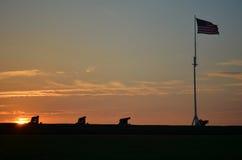 Fort Macon N.C. på solnedgången Royaltyfri Foto