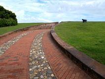 Fort Macon. Is a restored Civil War-era fort surrounded by water at the eastern tip of the Bogue Banks in Atlantic Beach, NC Stock Images