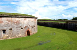 Fort Macon. Is a restored Civil War-era fort surrounded by water at the eastern tip of the Bogue Banks in Atlantic Beach, NC Royalty Free Stock Images