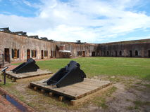 Fort Macon. Is a restored Civil War-era fort surrounded by water at the eastern tip of the Bogue Banks in Atlantic Beach, NC Stock Image