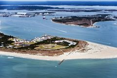 Fort Macon State Park. Aerial view over the Fort Macon State Park on Bogue Banks at Atlantic Beach, Carteret County, North Carolina, United States stock images