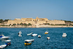 Fort Manoel view in Malta. With sea and boats Royalty Free Stock Photo