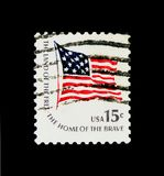 Fort-McHenry-flag national flag from 1795 to 1818, Americana I. MOSCOW, RUSSIA - NOVEMBER 24, 2017: A stamp printed in USA shows Fort-McHenry-flag national flag stock photos