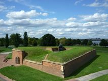 Fort McHenry Gunpowder Storage. Photo of a gunpowder storage building at fort mchenry  in baltimore maryland.  This structure prevented enemy canon balls from Stock Photo